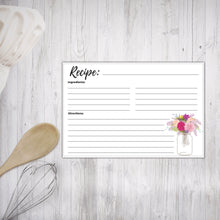 Load image into Gallery viewer, Printable Recipe Cards Floral Mason Jars Design 3
