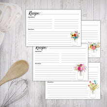 Load image into Gallery viewer, Printable Recipe Cards Floral Mason Jars