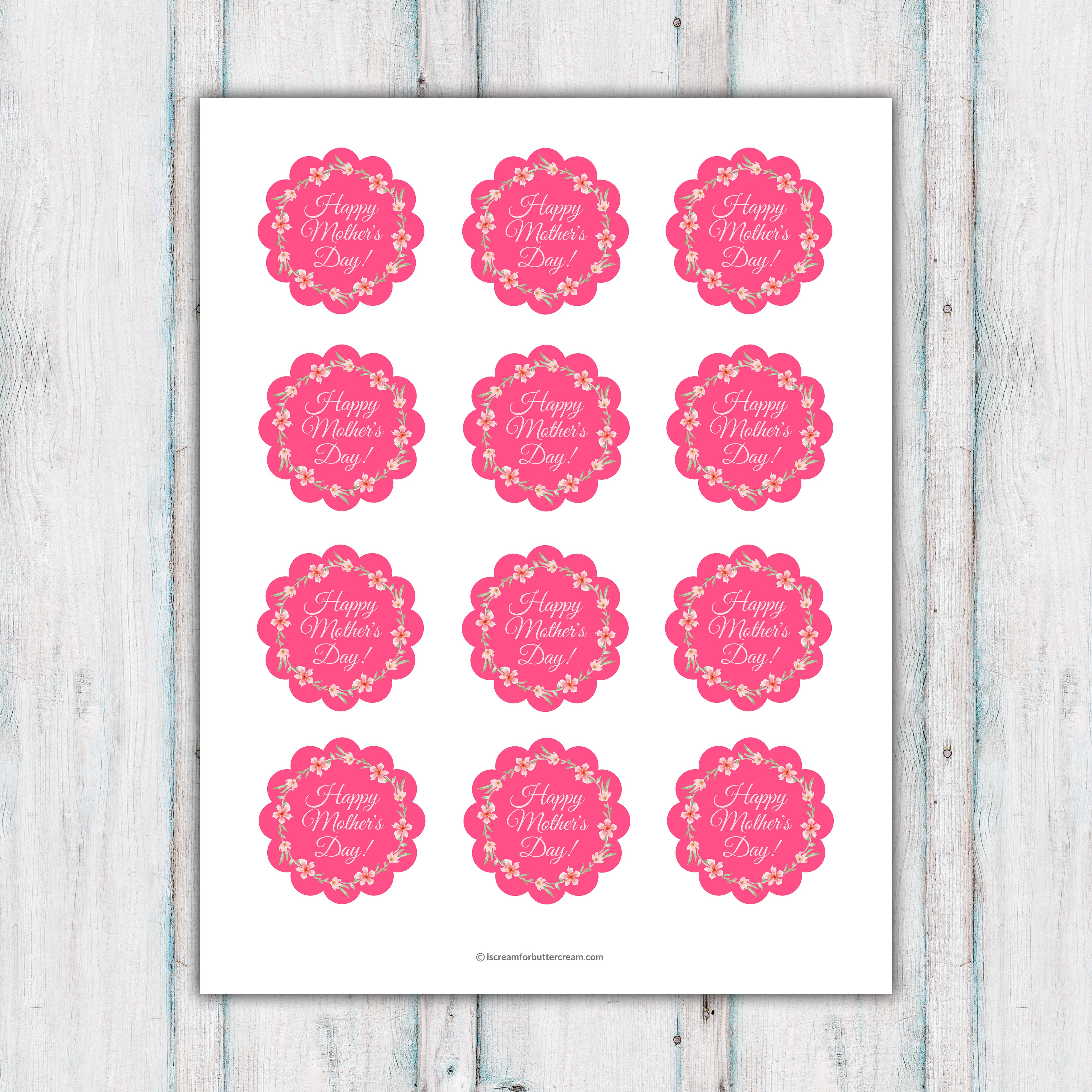 Pink Floral Mother's Day Cupcake Topper Printable