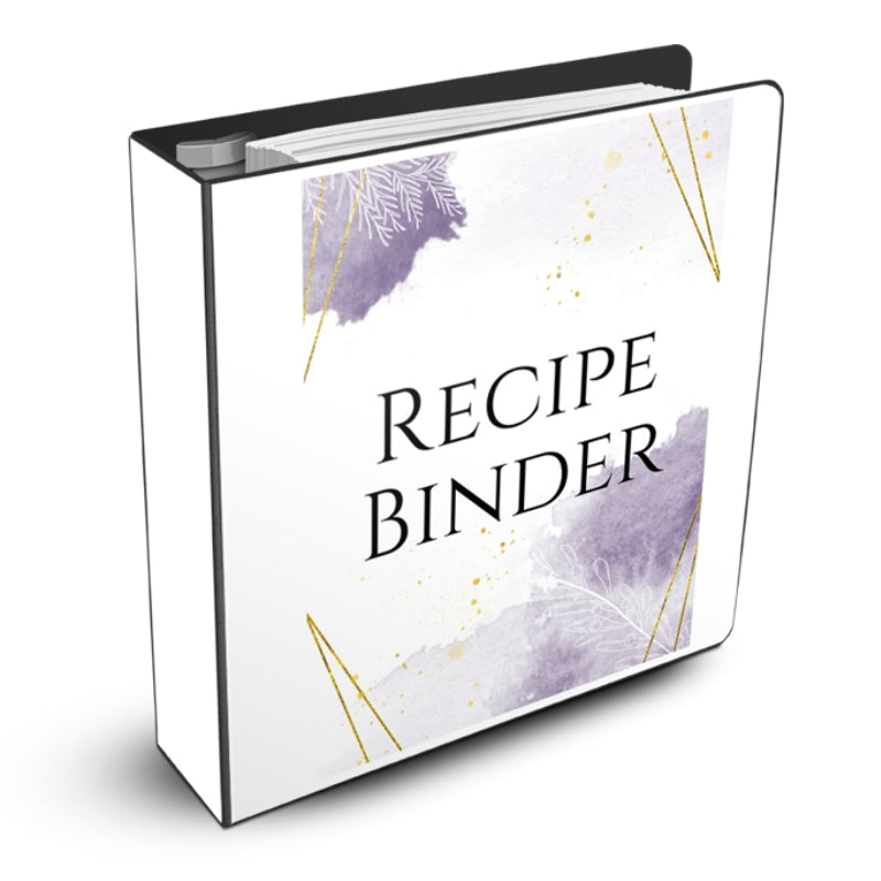 Recipe Binder Purple and Gold Design Mockup