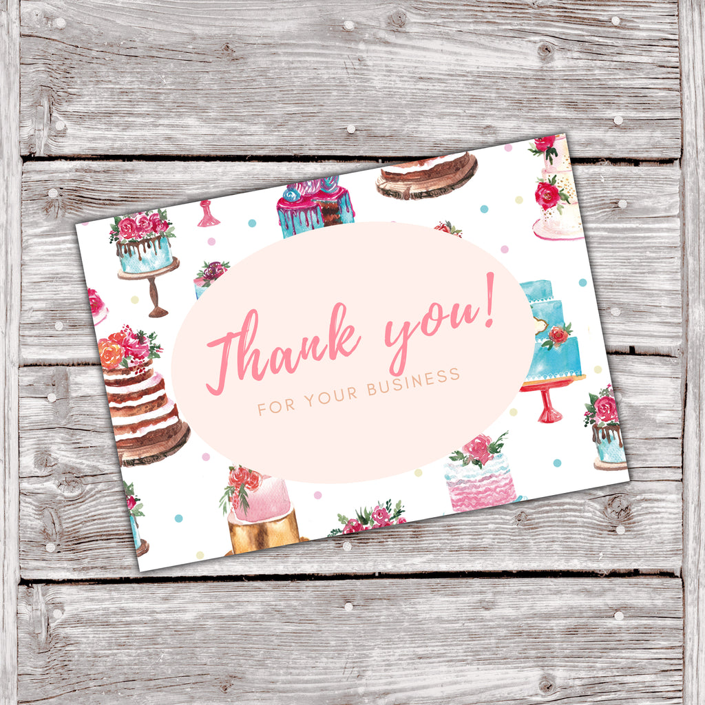 Cake Business Thank You Cards Watercolor Cake Design 1