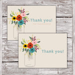 Thank You Cards Floral Mason Jar Design 1