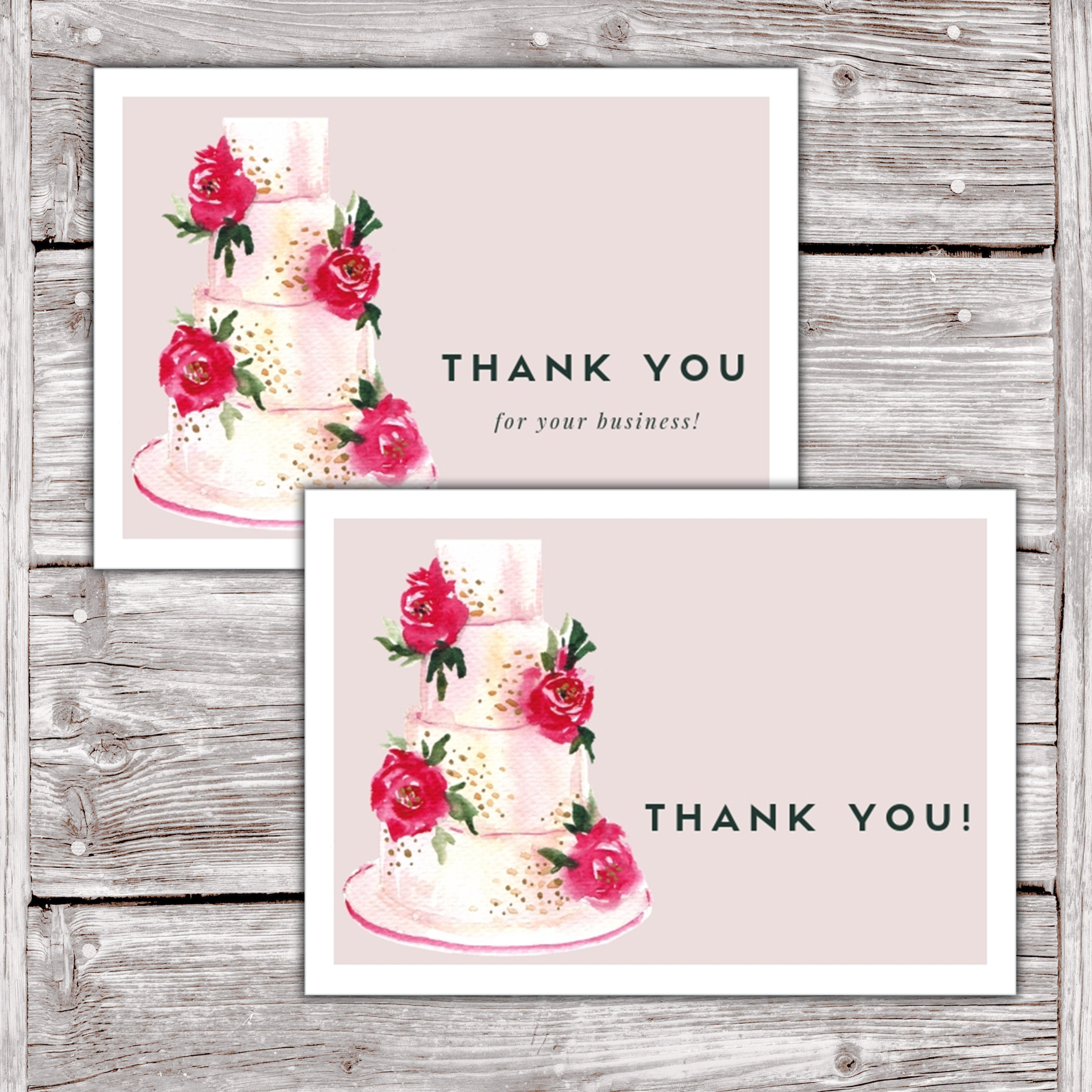 Cake Business Thank You Cards Watercolor Cake Design Version 2 10