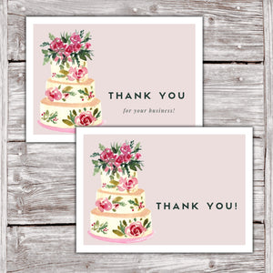 Cake Business Thank You Cards - Watercolor Cake Design (24 Designs) (Version 3)
