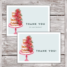 Load image into Gallery viewer, Cake Business Thank You Cards Watercolor Cake Design Version 2 1