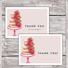 Load image into Gallery viewer, Cake Business Thank You Cards Watercolor Cake Design Version 2 2