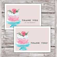Load image into Gallery viewer, Cake Business Thank You Cards Watercolor Cake Design Version 2 4