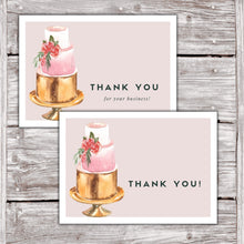 Load image into Gallery viewer, Cake Business Thank You Cards Watercolor Cake Design Version 2 6
