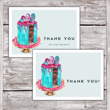 Load image into Gallery viewer, Cake Business Thank You Cards Watercolor Cake Design Version 2 7