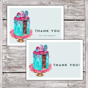 Cake Business Thank You Cards Watercolor Cake Design Version 2 7