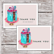 Load image into Gallery viewer, Cake Business Thank You Cards Watercolor Cake Design Version 2 8