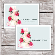 Load image into Gallery viewer, Cake Business Thank You Cards Watercolor Cake Design Version 2 9