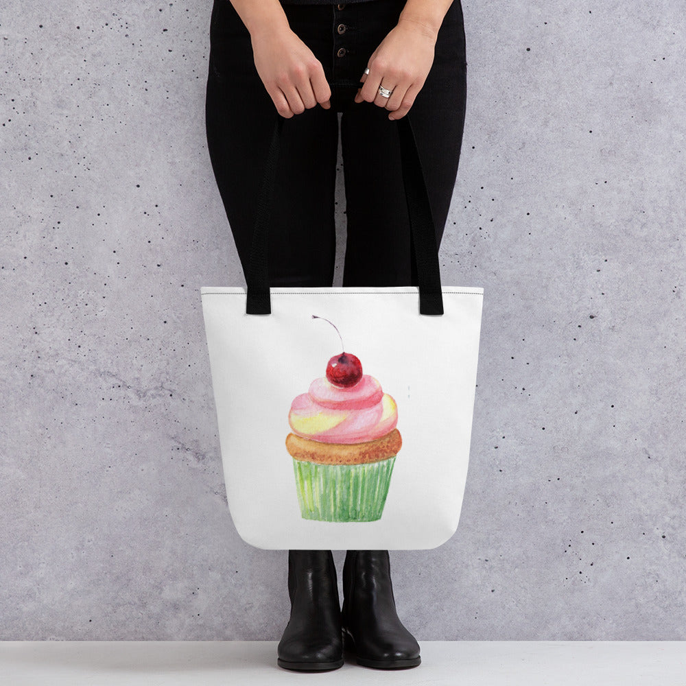 cupcake tote bag with woman mockup