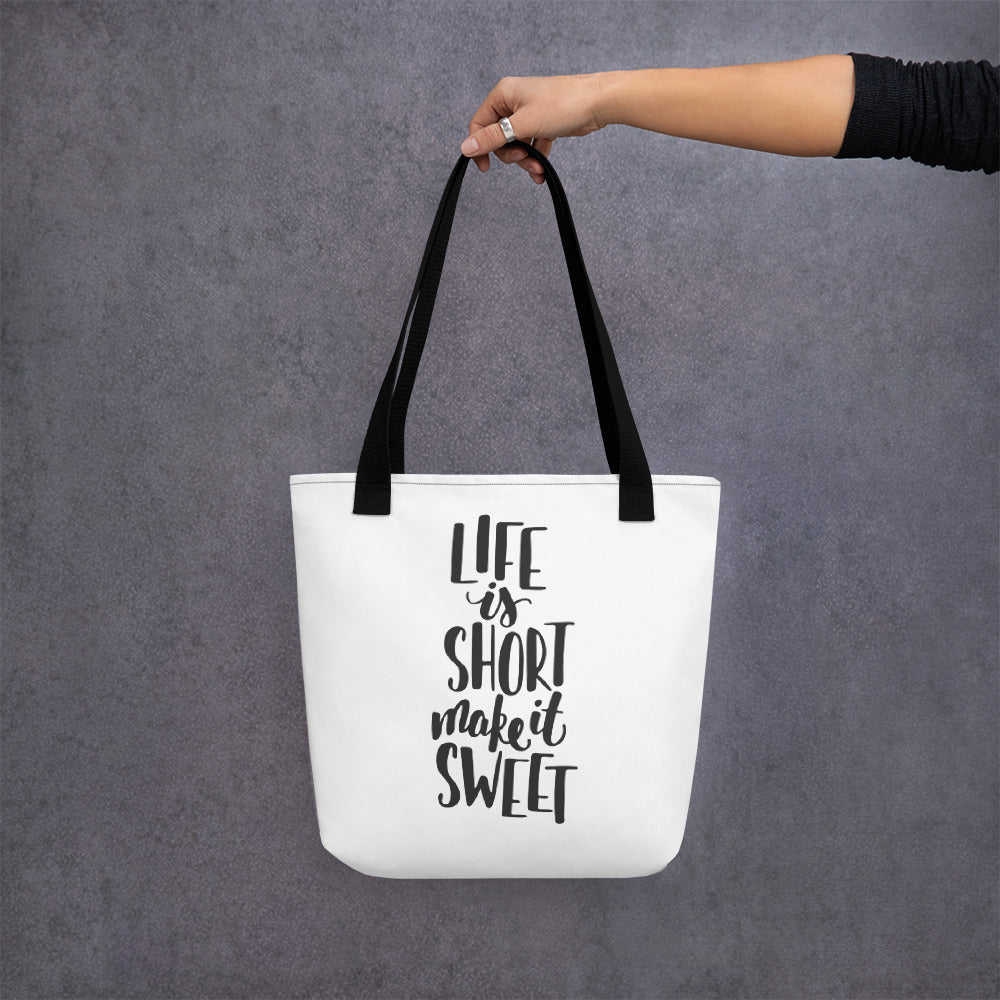life is short make it sweet black handled bag mockup