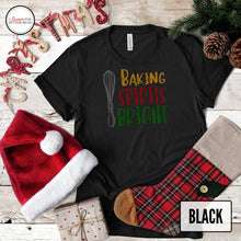 Load image into Gallery viewer, baking spirits bright with whisk black shirt with christmas decor