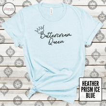 Load image into Gallery viewer, buttercream queen heather prism ice blue tshirt on wood background