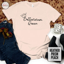 Load image into Gallery viewer, buttercream queen heather prism peach tshirt on wood background
