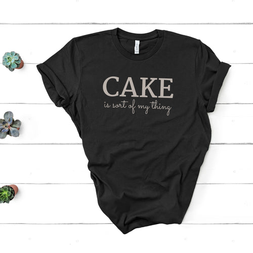 cake is sort of my thing light letters black shirt mockup