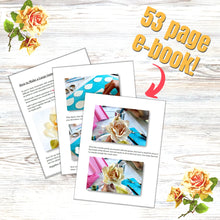 Load image into Gallery viewer, making gumpaste roses ebook graphic with pages