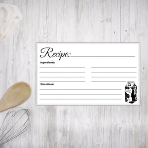Printable Recipe Cards Black and White Illustrated design 4