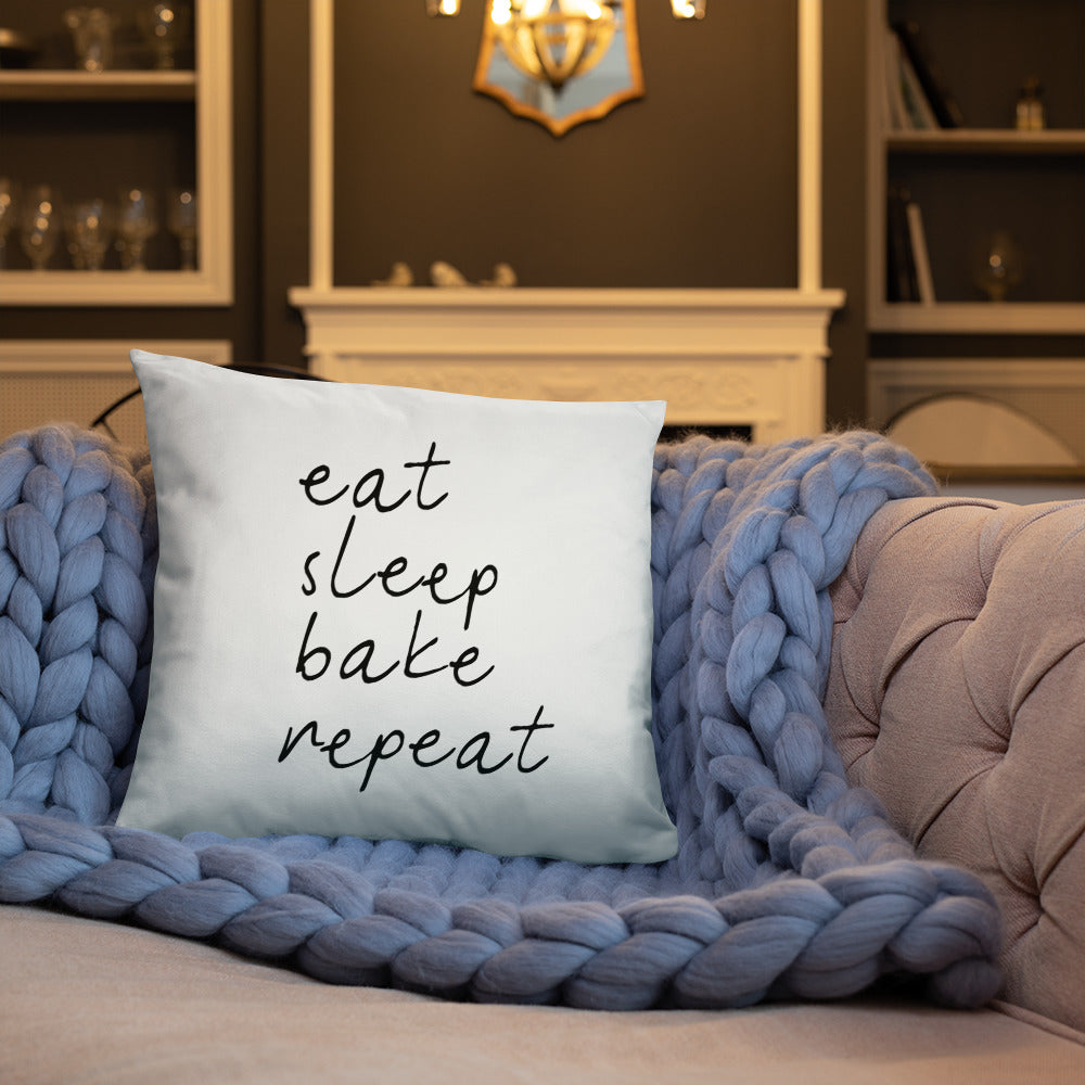 Eat Sleep Bake Repeat Decorative Pillow
