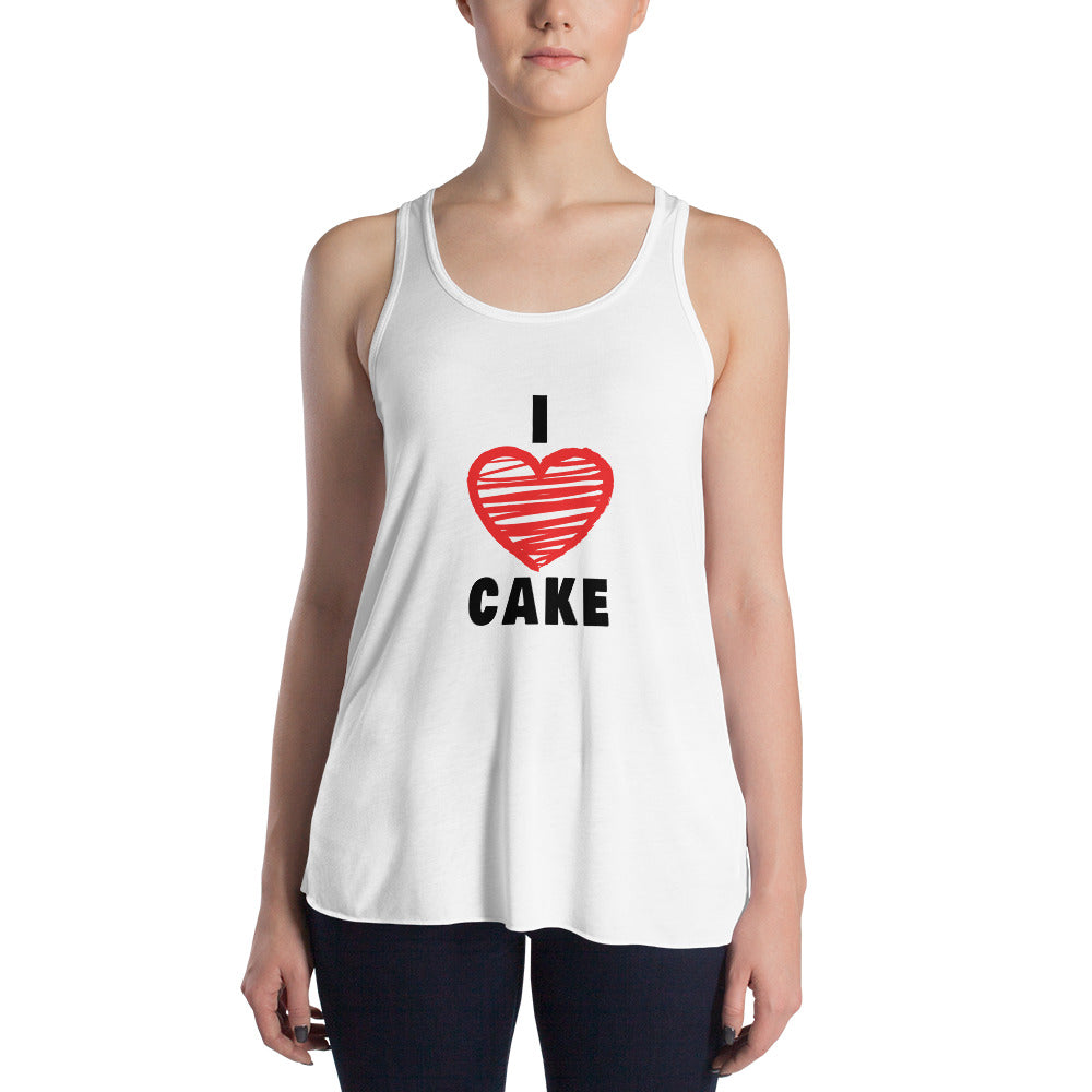I Love Cake Red Heart Design 2 Women's Flowy Racerback Tank