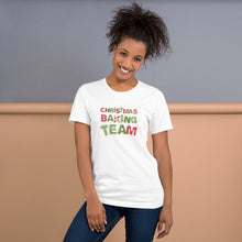 Load image into Gallery viewer, Christmas baking team white shirt on model