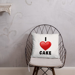 I Love Cake Red Heart Design Decorative Pillow