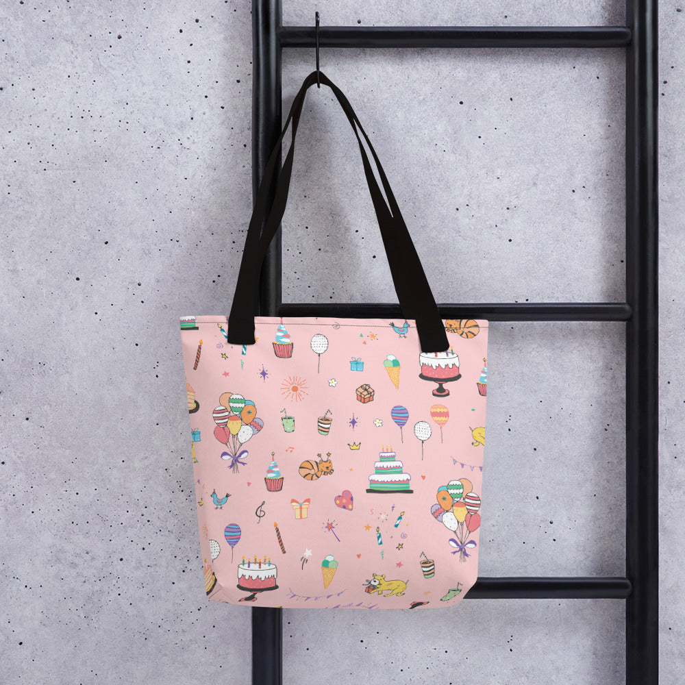 Pink Birthday Doodles Tote bag