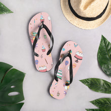 Load image into Gallery viewer, Pink Birthday Doodles Flip-Flops