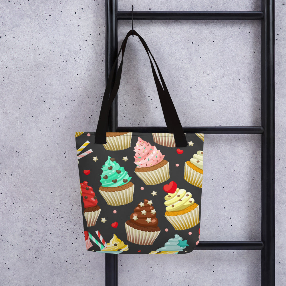 Colorful Cupcakes (Dark Background) Tote bag