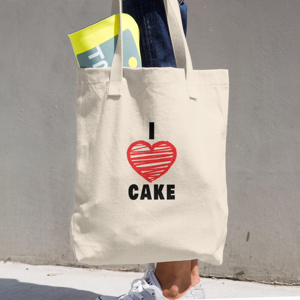 I Love Cake (Red Heart Design 2) Cotton Tote Bag