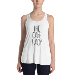 The Cake Lady Women's Flowy Racerback Tank white
