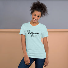 Load image into Gallery viewer, buttercream queen blue tshirt with model