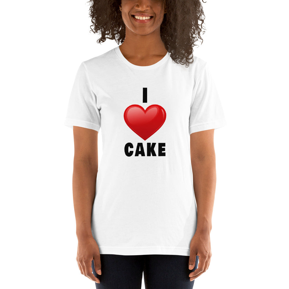 I Love Cake (Red Heart Design) Short-Sleeve Unisex T-Shirt