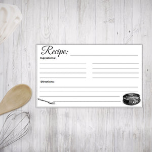 Printable Recipe Cards Black and White Illustrated design 5