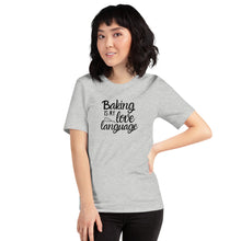 Load image into Gallery viewer, light grey baking is my love language shirt with model