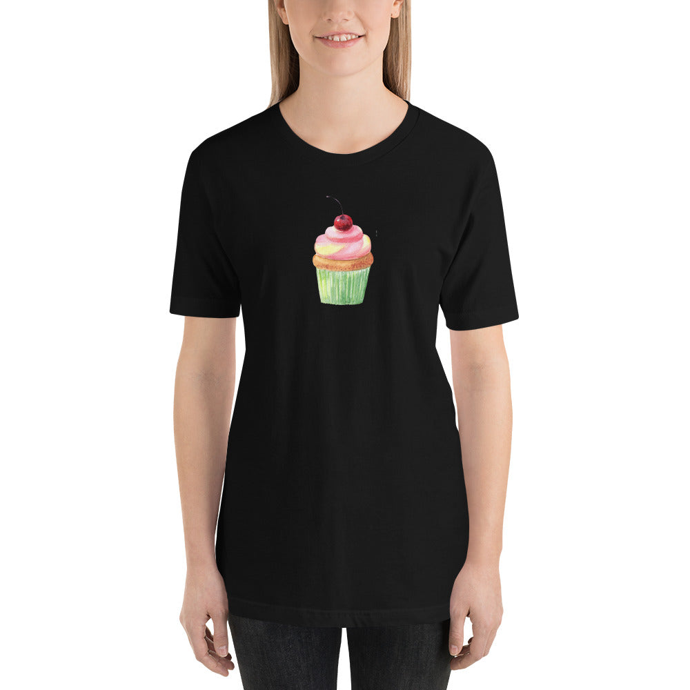 cute cupcake on a black shirt mockup