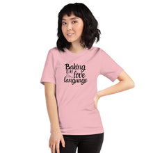 Load image into Gallery viewer, pink baking is my love language shirt with model