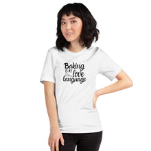 Load image into Gallery viewer, white baking is my love language shirt with model