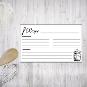 Printable Recipe Cards Black and White Illustrated design 6