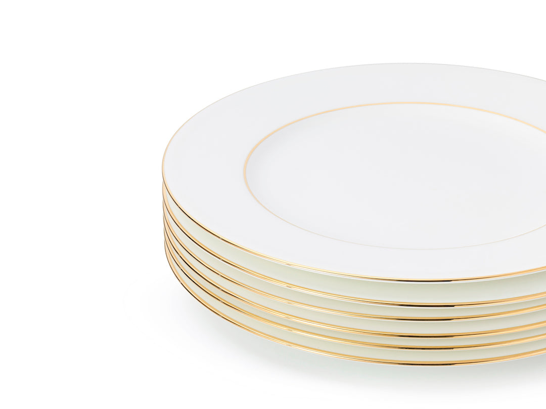 J.W Krogman The Allingham Gold Tableware Collection – Set Of 6 Dinner Plates In Fine Bone China