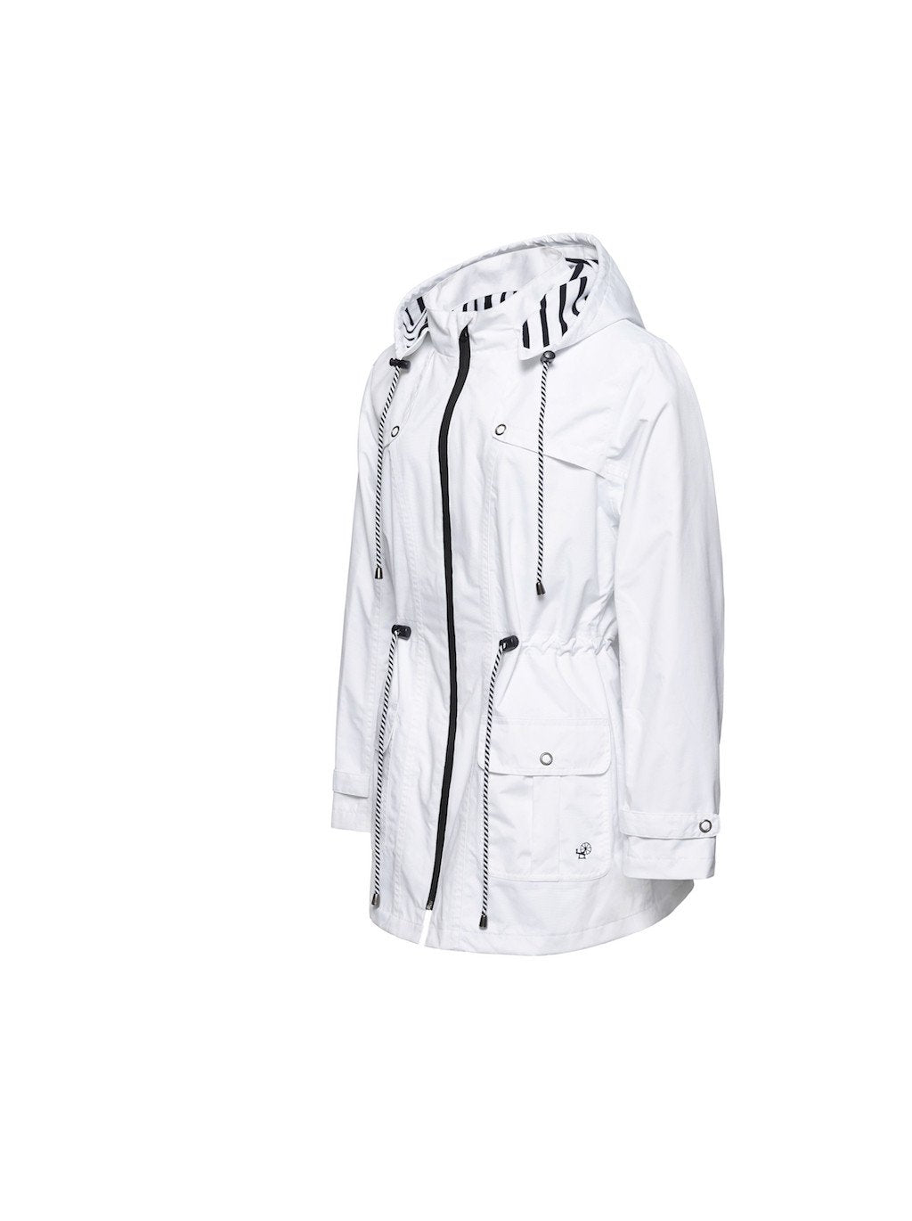 Millstrand Co. Espen All-Weather Jacket in White, Navy Trims