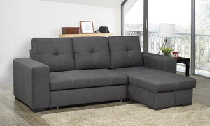 Clemente Grey Fabric Reversible Sofa Bed Sectional with Storage