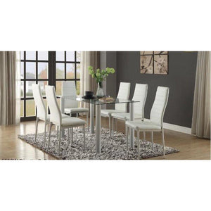 Mazin Dining Table with a Glass Top White 5538