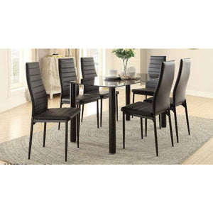 Mazin Dining Table with a Glass Top Black 5538