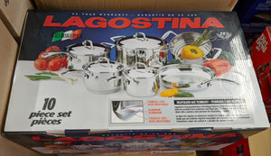 LAGOSTINA Stainless Steel 10 PC Cookware Set