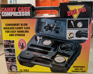 Heavy Duty 12 Volt Air Compressor, with Case 260psi