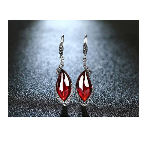 Silver Earrings_ 20ve/ 2 Colors Available, Red & Green