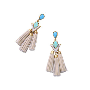 Leather Tassel Drop Earrings